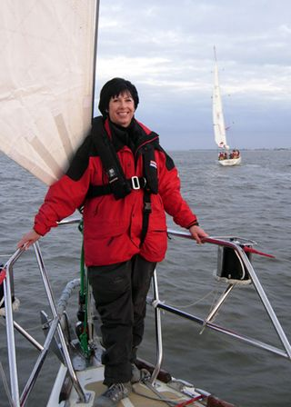 Carolyn Burgess tries out the Hull & Humber yacht - she will not be taking part in the race itself!